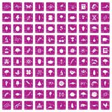 100 microbiology icons set grunge pink. 100 microbiology icons set in grunge style pink color isolated on white background vector illustration Royalty Free Stock Photography