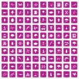100 microbiology icons set grunge pink. 100 microbiology icons set in grunge style pink color isolated on white background vector illustration Vector Illustration