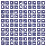 100 microbiology icons set grunge sapphire. 100 microbiology icons set in grunge style sapphire color isolated on white background vector illustration Royalty Free Illustration