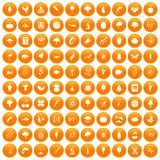 100 microbiology icons set orange. 100 microbiology icons set in orange circle isolated vector illustration Royalty Free Stock Photography