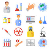 Microbiology Icons Set Stock Image