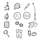Microbiology lab doodle icons set Stock Photo