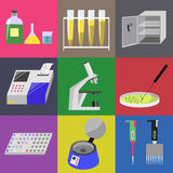 Microbiology laboratory icons set. Labware, thermostat, microscope, analyzer, centrifuge etc. Vector illustration Stock Photos