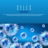 Microbiology and medical vector web banner template with 3d bacteria and viruses Stock Images