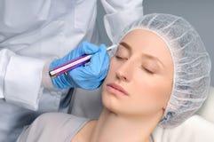 Microblading Cosmetologist che fa trucco permanente Donna attraente che ottiene le sopracciglia facciali del tatuaggio e di cura fotografia stock libera da diritti