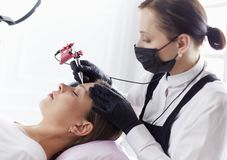 Microblading eyebrows work flow in a beauty salon. Woman having her eye brows tinted.  royalty free stock images