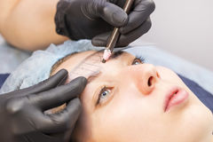 Microblading eyebrows workflow Royalty Free Stock Image