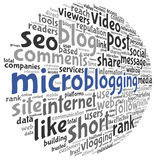 Microblog concept in word tag cloud Stock Images