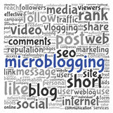 Microblog concept in word tag cloud Stock Image