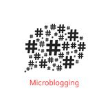 Microblogging icon with speech bubble from hashtag Royalty Free Stock Photos