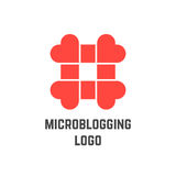 Microblogging logo with hashtag from hearts Stock Photos