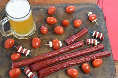 Microbrew And Beef Stick Snack Stock Photo
