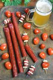 Microbrew And Beef Stick Snack Stock Photography