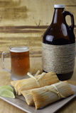 Microbrew Beer and Tamales Stock Image