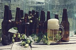 Microbrew - bottles and hops royalty free stock photography