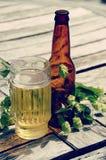 Microbrew - Flaschen und Hopfen lizenzfreies stockfoto