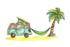 Microbus, Hängematte, Palme und Strand stockbild