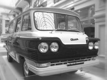 Microbus Start 1966 year. Retrocar Microbus Start 1966 year, exhibition in Moscow, b&w stock images