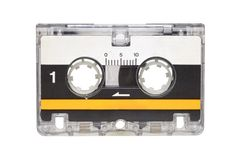 Microcassette isolated on white background. Microcassette for voice recorder or answering machine isolated on white background royalty free stock image
