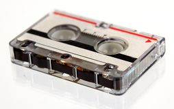 Microcassette for voice recorder. Or answering machine isolated on white background stock photo
