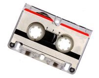 Microcassette for voice recorder. Or answering machine isolated on white background royalty free stock photo