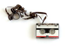 Microcassette for voice recorder. Or answering machine on white background stock photo