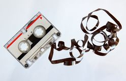 Microcassette for voice recorder. Or answering machine on white background stock photos