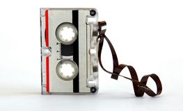 Microcassette for voice recorder. Or answering machine on white background royalty free stock images