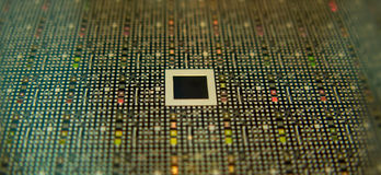 Microchip. A macro view of a silicon chip royalty free stock photo