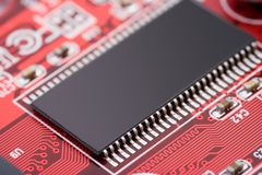 Microchip. Macro of a micro chip Royalty Free Stock Photography
