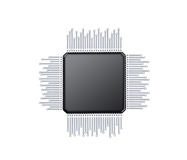 Microchip. Microcontroller , computer electric component and database Vector Illustration