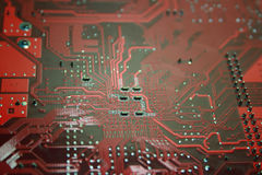 Microchip. Closeup on computer motherboard microchip royalty free stock photo