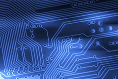 Microchip background - close-up of electronic circuit board Royalty Free Stock Images