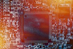 Microchip background - close-up of electronic circuit board. With processor Stock Illustration