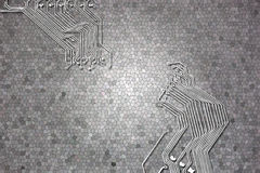 Microchip background close-up of electronic circuit board Stock Photography
