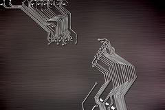 Microchip background close-up of electronic circuit board Stock Images