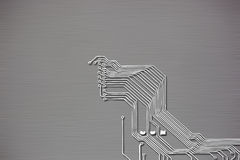 Microchip background close-up of electronic circuit board Royalty Free Stock Image
