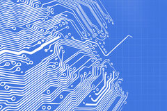 Microchip background - close-up of electronic circuit board Royalty Free Stock Photos