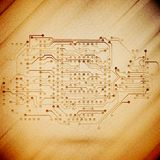 Microchip background, electronics circuit, wooden Stock Photos
