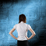 Microchip background - technology concept. With busness woman Stock Images