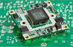 Microchip board with sensor Royalty Free Stock Photo