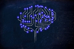 Microchip circuit brain with led lights. Robotic brain made of microchip ciircuits with led lights Stock Photography