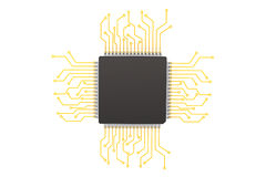 Microchip with circuit stock photo