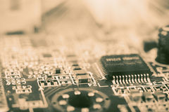 Microchip on a computer board Stock Photography