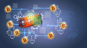 Microchip con el dinero moderno del web de la moneda Crypto de oro de Bitcoins Digital sobre fondo azul marino libre illustration
