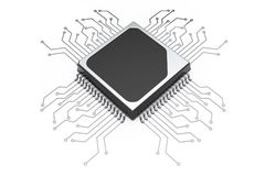 Microchip CPU Processor with Circuit. 3d Rendering Stock Photography