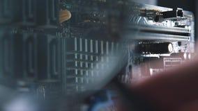 Microchip del ordenador y primer del microprocesador almacen de video