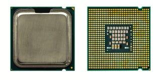 Microchip di vista superiore dell'unità centrale di elaborazione del CPU fotografia stock