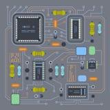 Microchip do molde da microplaqueta de IC do computador em projeto detalhado da placa de circuito impresso ilustração stock
