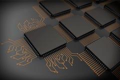Microchip do processador central como o circuito fotos de stock royalty free